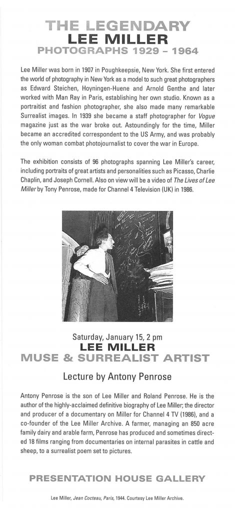 Lee Miller, Gallery Invitation - back