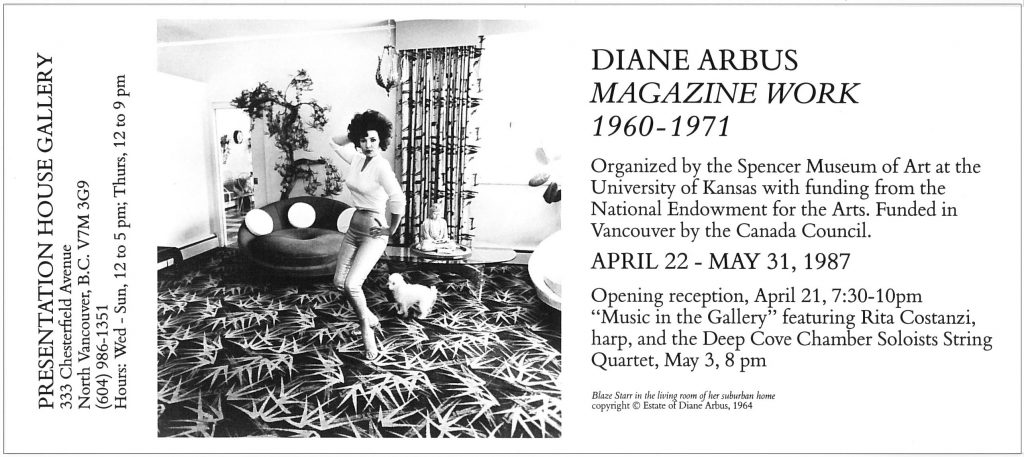 Diane arbus, Gallery Invitation