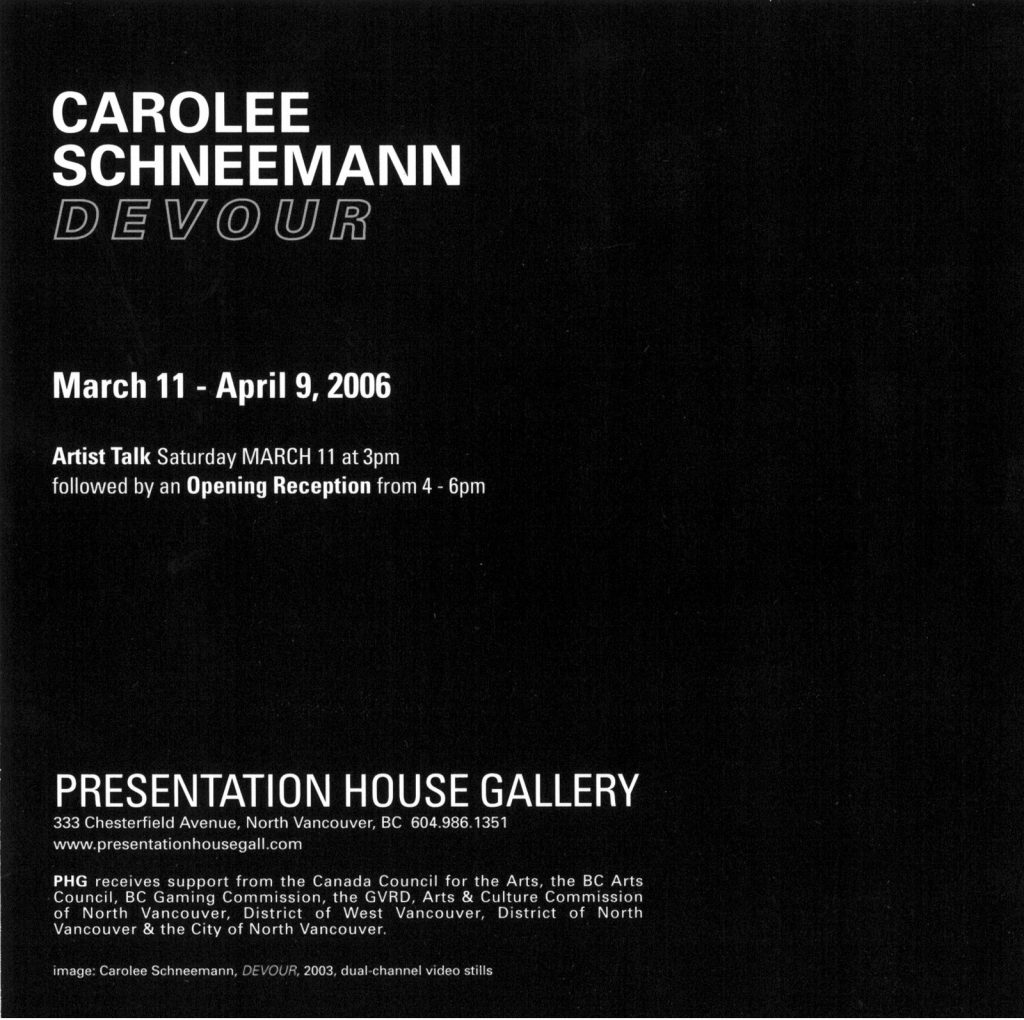 Carolee Schneemann, Gallery Invitation - back
