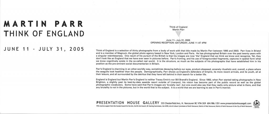 Martin Parr, Gallery Invitation - back