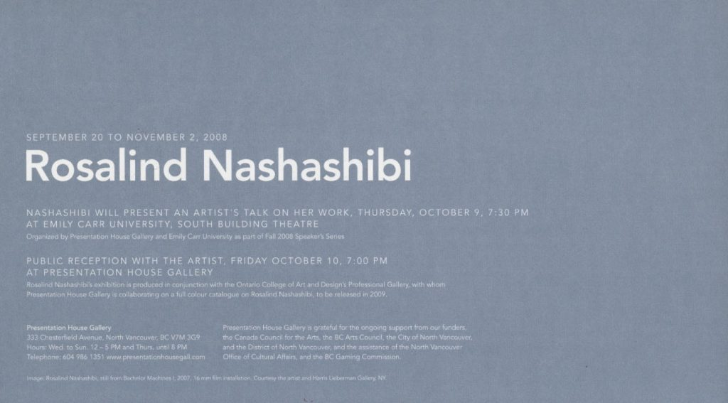 Nashashibi, Gallery Invitation, Back