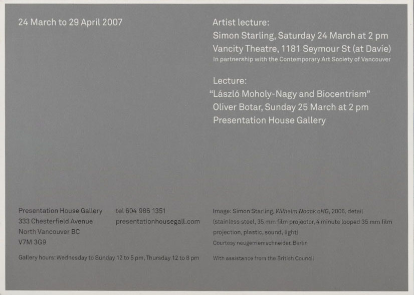 Lazlo Moholy Nagy and Simon Starling, Gallery Invitation, Back