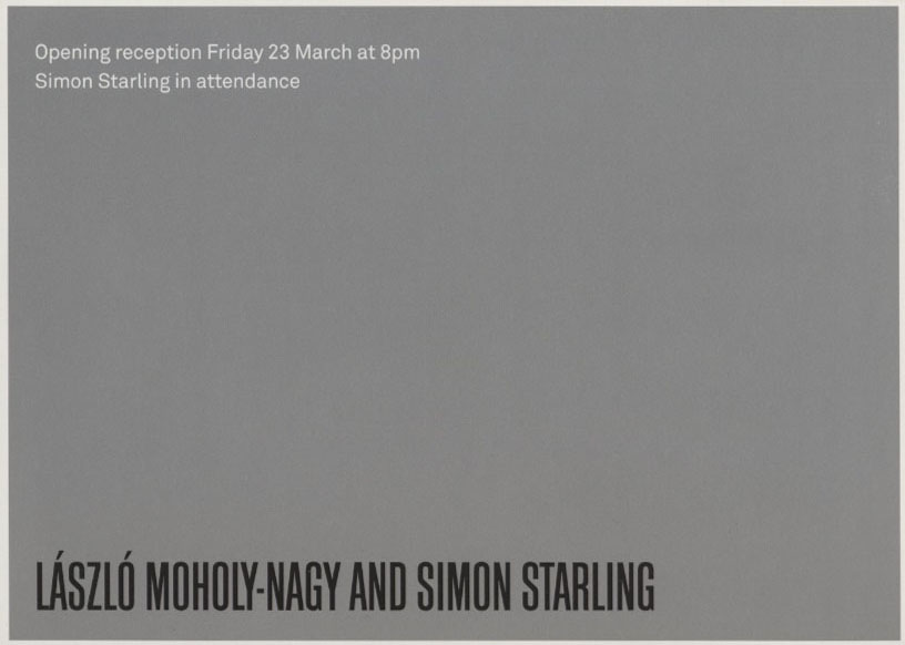 Lazlo Moholy Nagy and Simon Starling, Gallery Invitation, Front