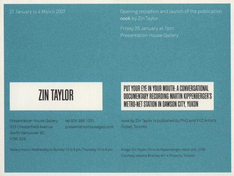 Zin Taylor, Gallery Invitation, Back