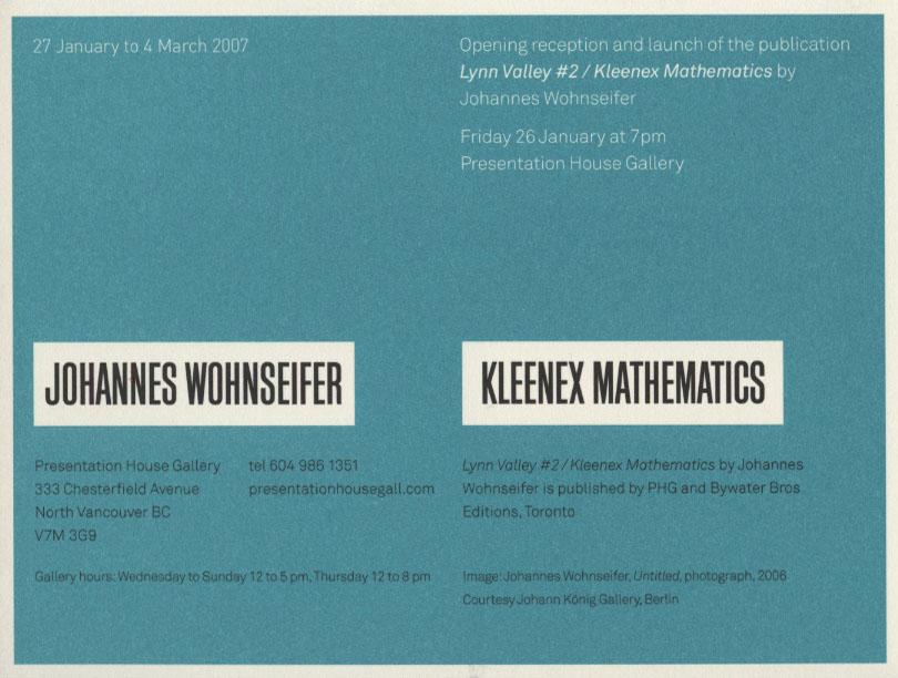 Kleenex Mathematics, Gallery Invitation, Back