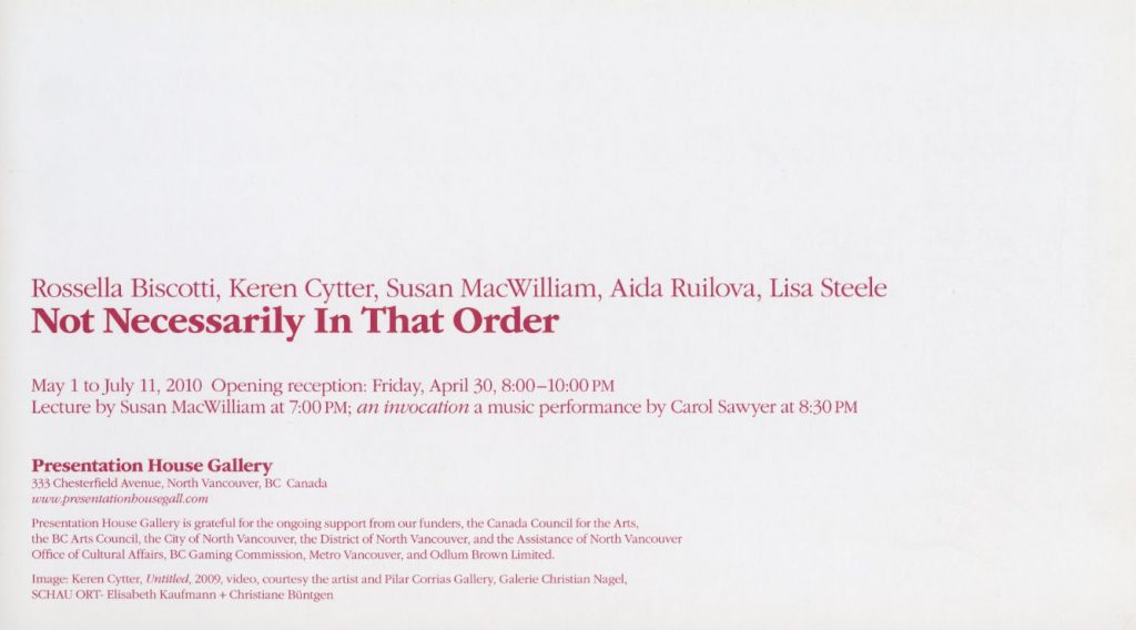 Not Necessarily in that Order, Gallery Invitation, Back