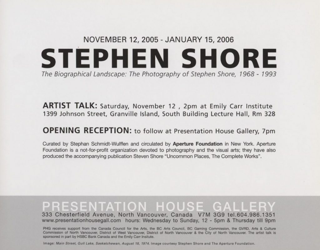 Stephen Shore, Gallery Invitation, Back