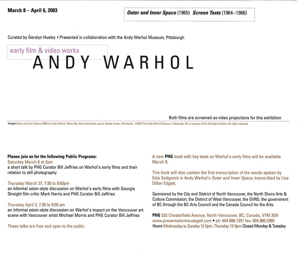 Andy Warhol, Gallery Invitation - back