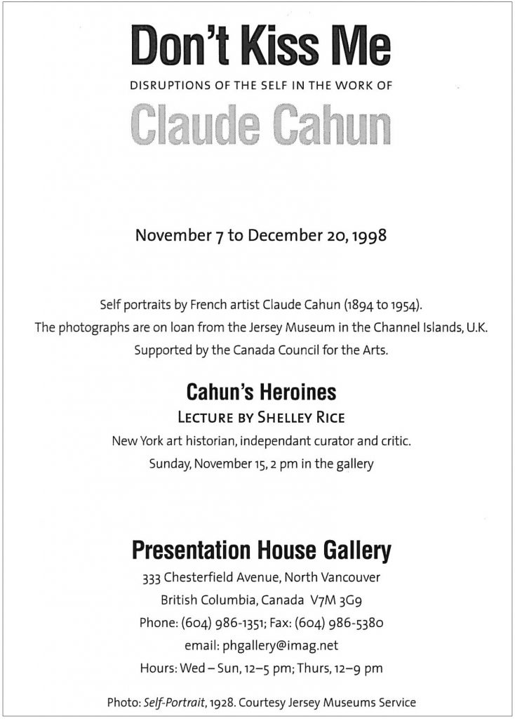 Claude Cahun, Gallery Invitation - back