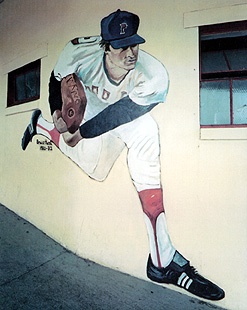 Jim Dow, Bruce Hurst, Wall Painting, McCoy Stadium, Pawtucket, RI, colour photograph, 1987