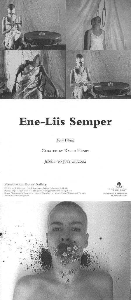 Ene-Liis Semper, Gallery Invitation - front