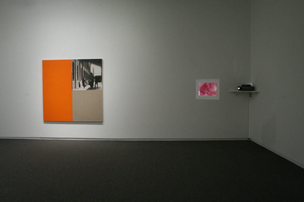 Ian Wallace's Poverty Image with Orange, 1987, Photolaminate with acrylic on linen and Laiwan's she who has scanned the flower of the world.., 1987,  Petals, slide mounts, slide projector