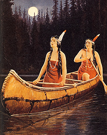 """Paddling twin princesses, signed """"Rudolph"""", 1920's"""