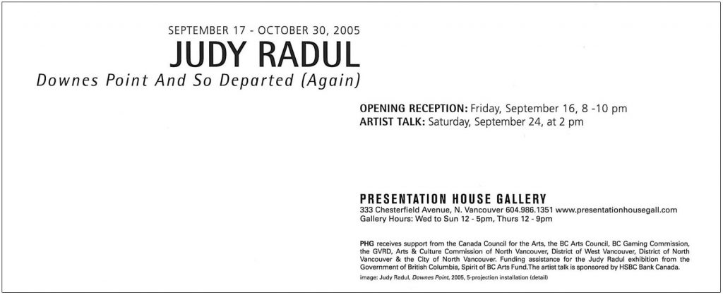 Judy Radul, Gallery Invitation - back