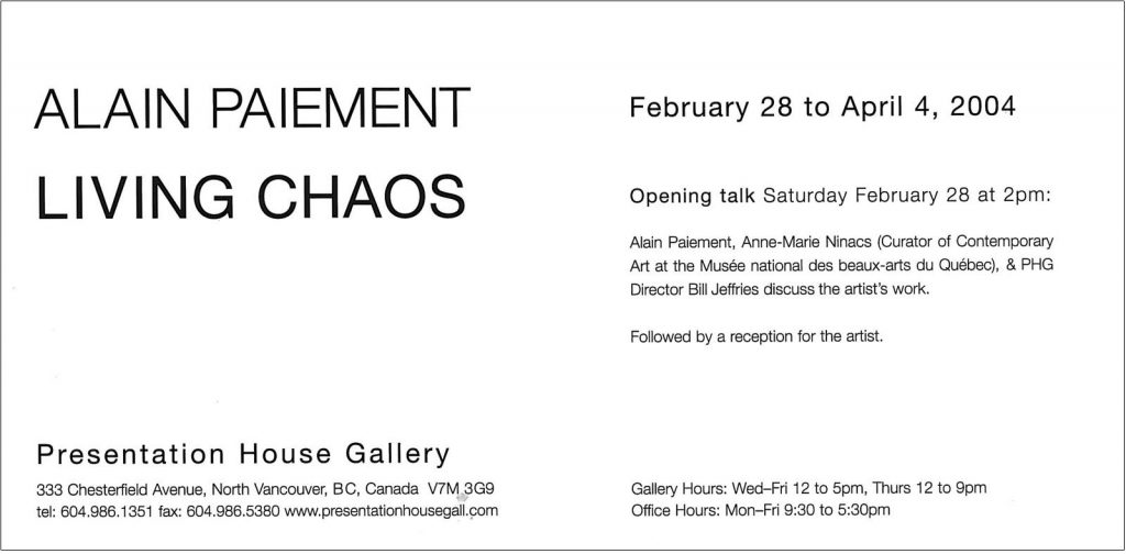 Living chaos, Gallery Invitation - back