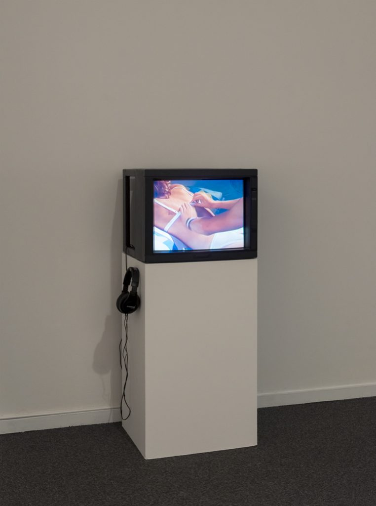 Installation view, My House: Mike Kelley & Ryan Trecartin, Presentation House Gallery, December 19, 2015 – March 6, 2016; Mike Kelley, in collaboration with Bruce and Norman Yonemoto, Kappa, 1986, video. Courtesy Presentation House Gallery and Site Photography.