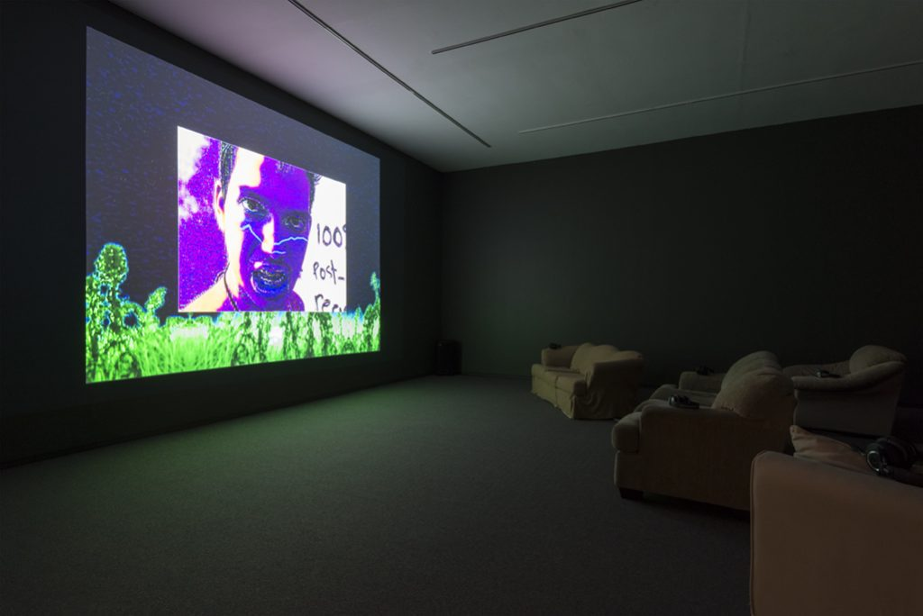 Installation view, My House: Mike Kelley & Ryan Trecartin, Presentation House Gallery, December 19, 2015 – March 6, 2016; Ryan Trecartin, A Family Finds Entertainment, 2004, video. Courtesy Presentation House Gallery and Site Photography.