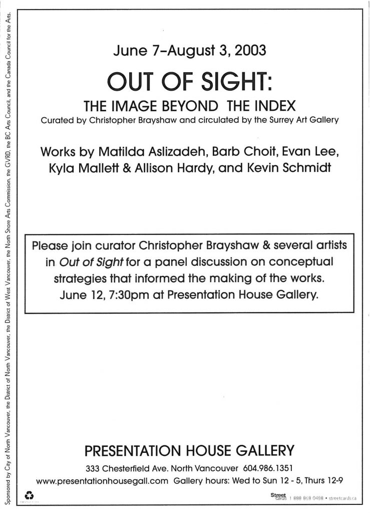 Out of sight, Gallery Invitation - back