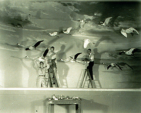 Working on Flying Bird Group in Sanford Hall, The American Museum of Natural History, 1947. Photo: Alex J. Rota