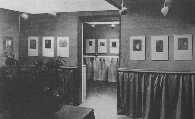 "Alfred Stieglitz, installation view of the Gertrude Käsebier and Clarence H. White exhibition at Gallery 291, New York City, 1906. Reproduction of the photogravure originally published in ""Camera Work, No. 14,"" 1906."