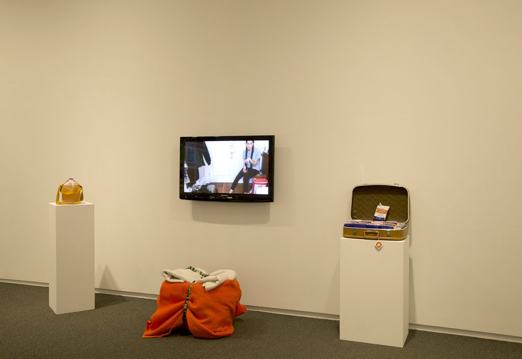 Tricia Livingston, What is Good for the Future, What Was Good For the Past, 2016, video, 27 bricks of yeast, milk jug, woven hunting bag, Rubbermaid bin and blankets
