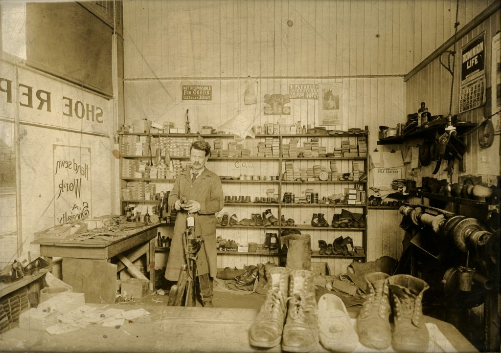"""Percy M. Smith Shoe Repair, 1339 Lonsdale Avenue, North Vancouver,"" c. 1920,  gelatin silver print (1106)"