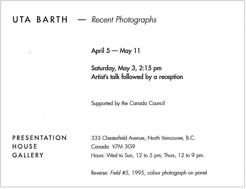 Uta Barth, Gallery Invitation - back