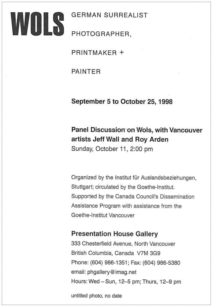 Wols, Gallery Invitation - back