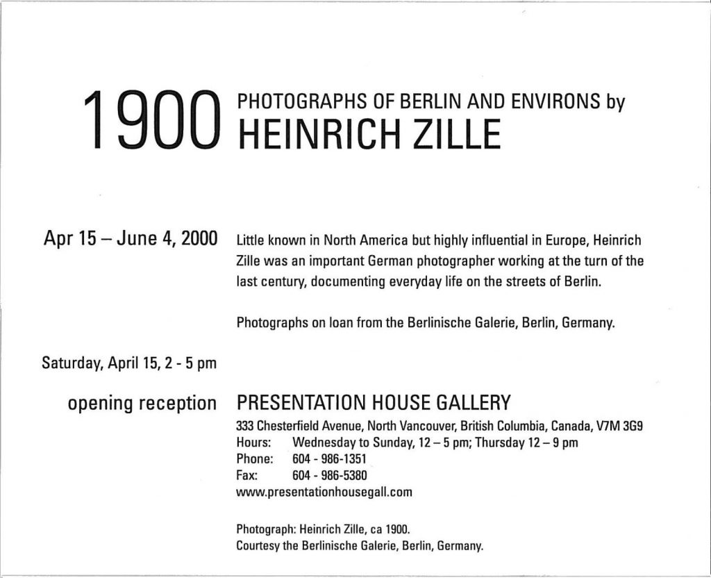 Heinrich Zille, Gallery Invitation - back
