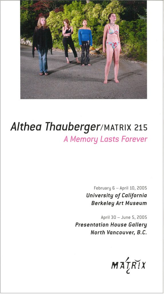 Cover of the exhibition brochure: A Memory Lasts Forever (production still), 2004; singlescreen DVD installation with sound; courtesy of the artist.
