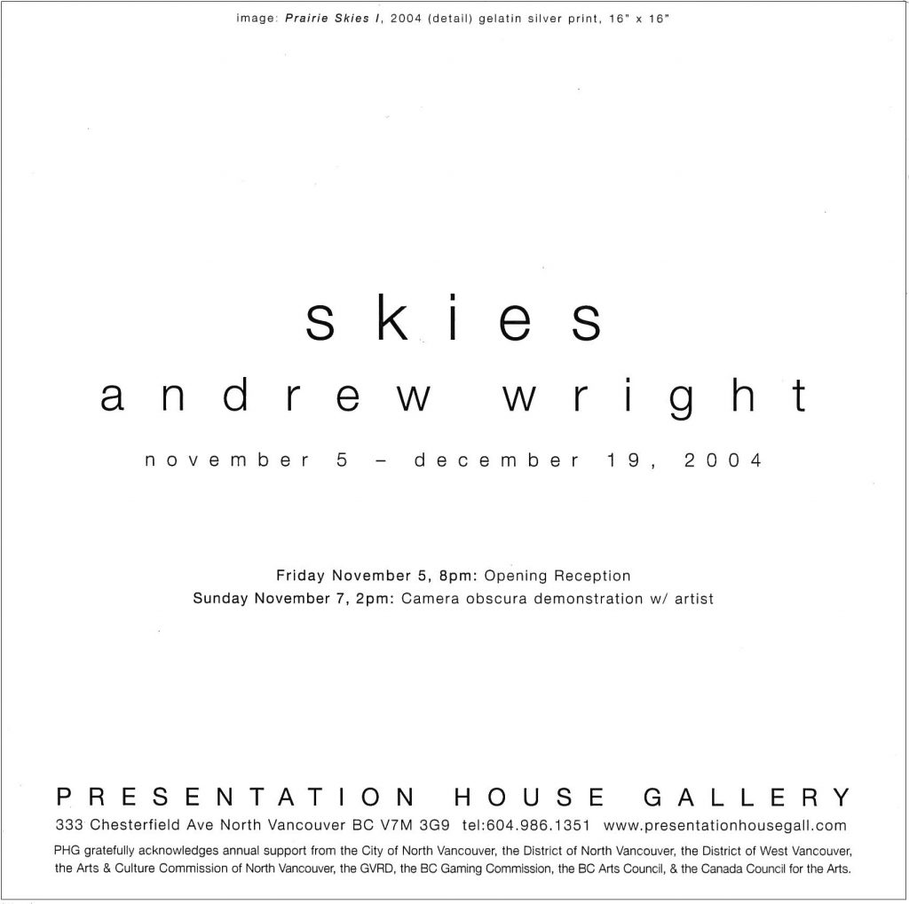 Skies, Andrew Wright, Gallery Invitation - back