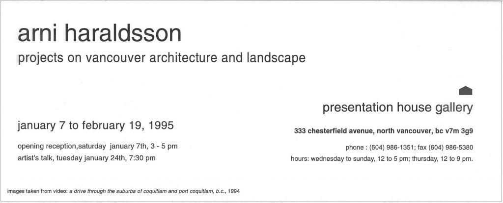 Haraldsson, Gallery Invitation - back