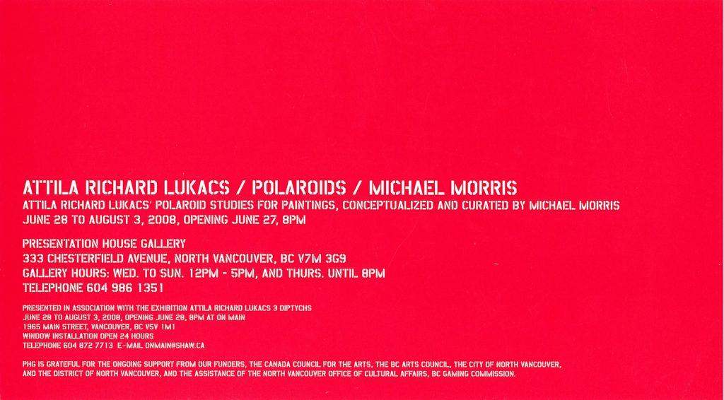 Polaroids, Gallery Invitation - back
