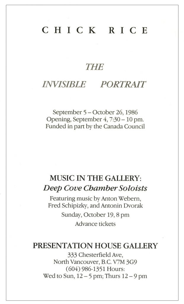 Invisible Portrait, Gallery Invitation