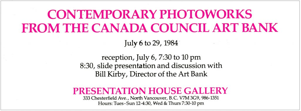 Photoworks from the Canada Council, Gallery Invitation