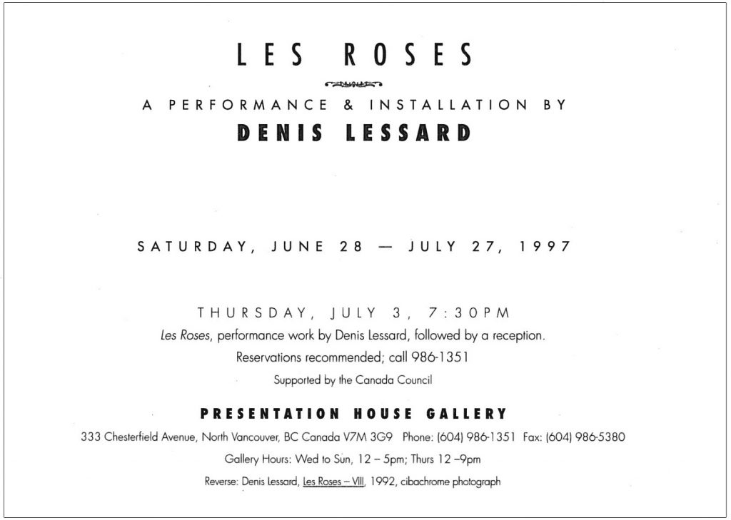 Denis Lessard, Gallery Invitation - back