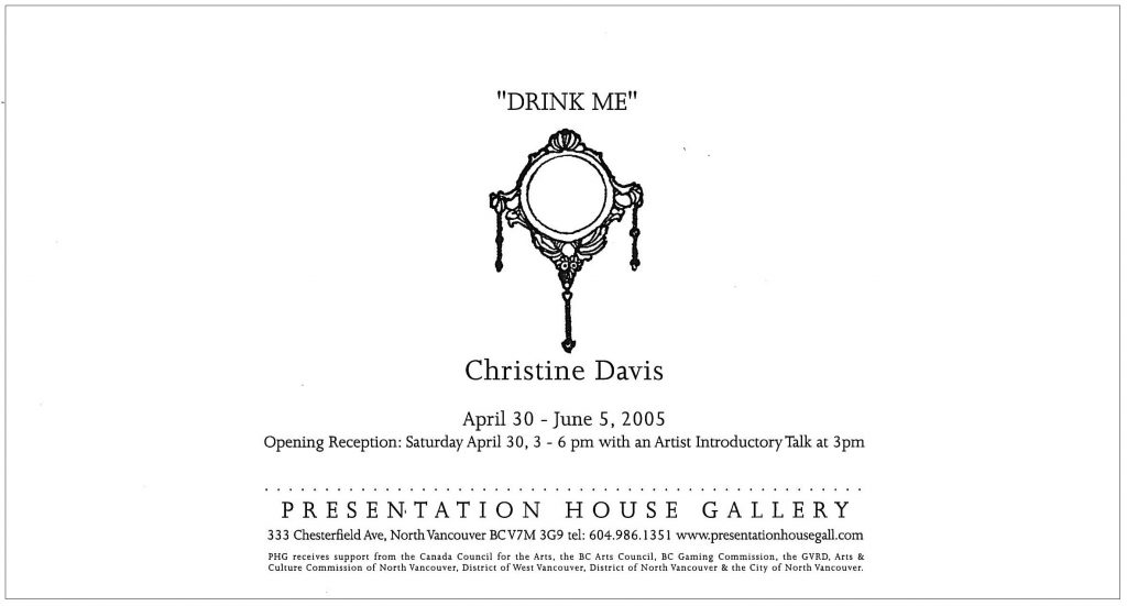 Drink Me, Davis, Gallery Invitation - back