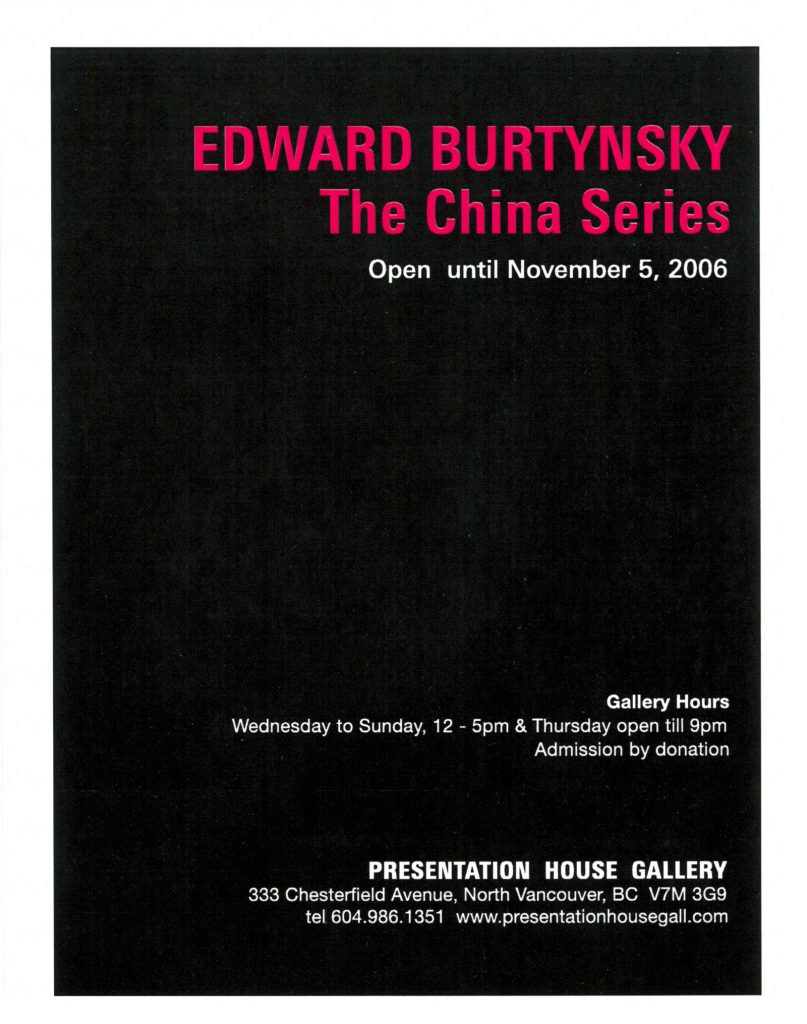Burtynsky, Gallery Invitation - back