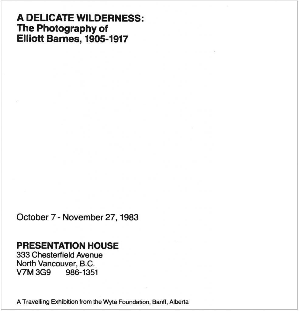 Delicate Wilderness, Barnes, Gallery Invitation - back