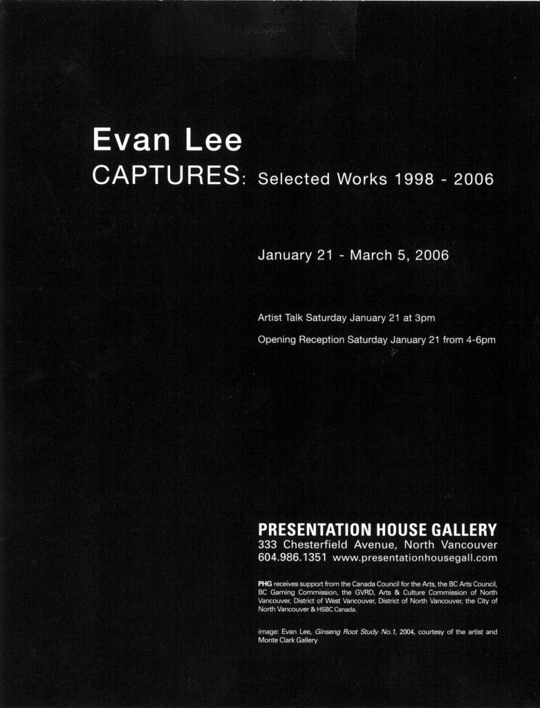 Captures, Lee, Gallery Invitation - back