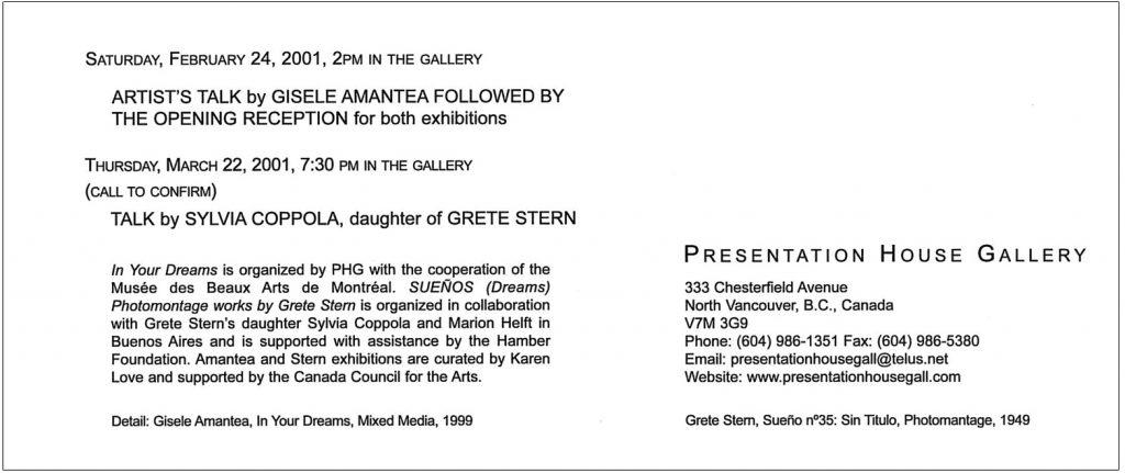 Gisele Amantea, Gallery Invitation - back