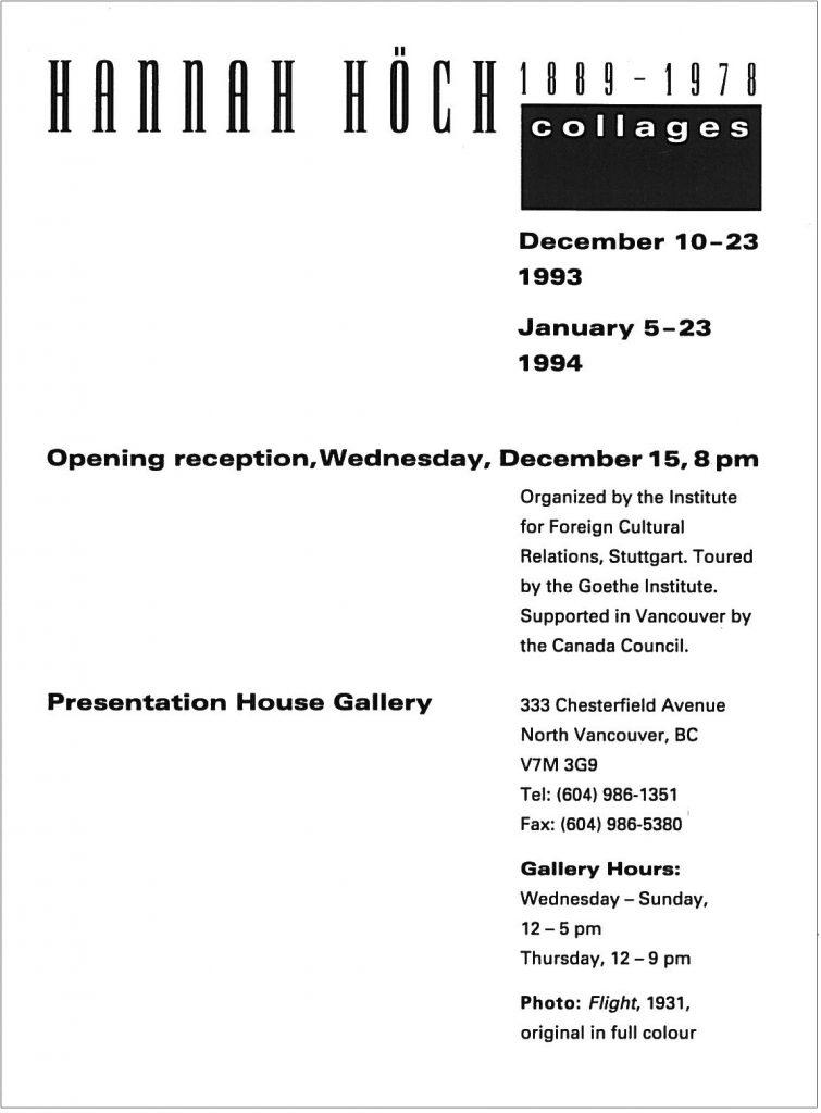 Hannah Hoch, Gallery Invitation - back