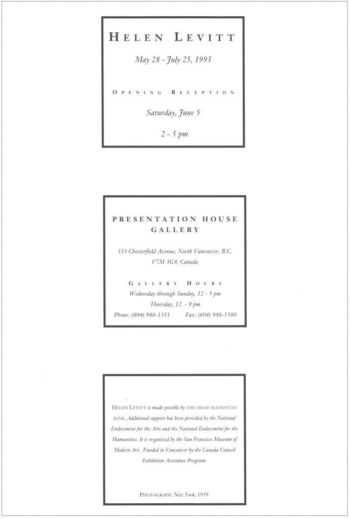 Helen Levitt, Gallery Invitation - back