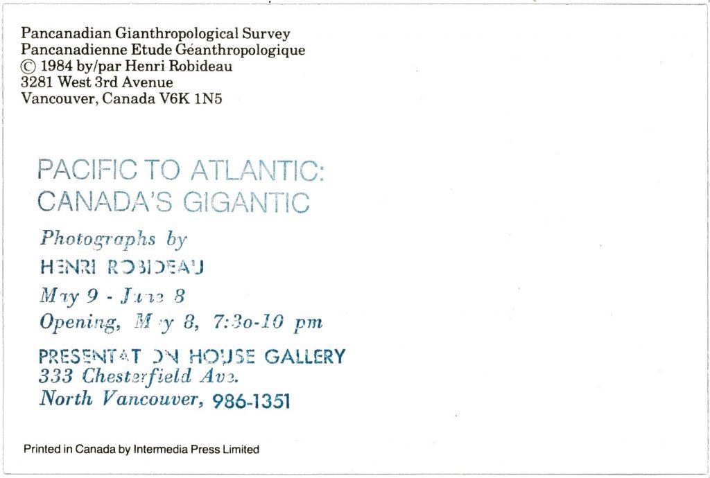 Canada's Gigantic, Gallery Invitation - back