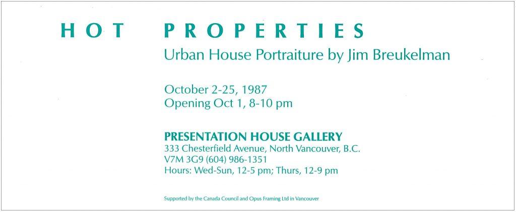 Hot Properties, Gallery Invitation