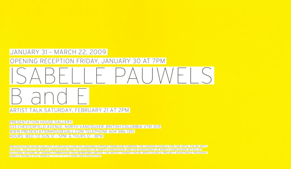 Isabelle Pauwels, Gallery Invitation - back