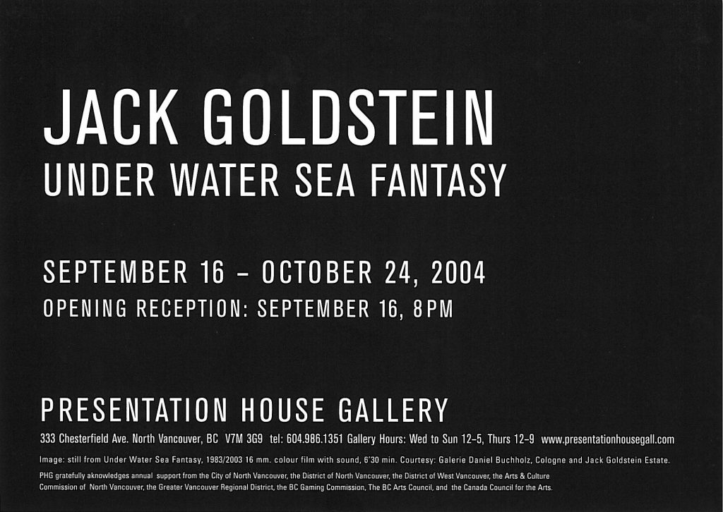 Jack Goldstein, Gallery Invitation - back