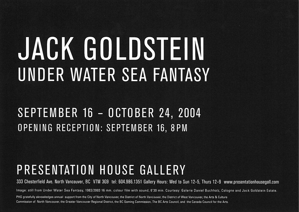 Jack Goldstein, Gallery Invitation - back