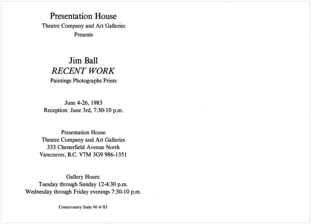 Jim Ball, Gallery Invitation - back