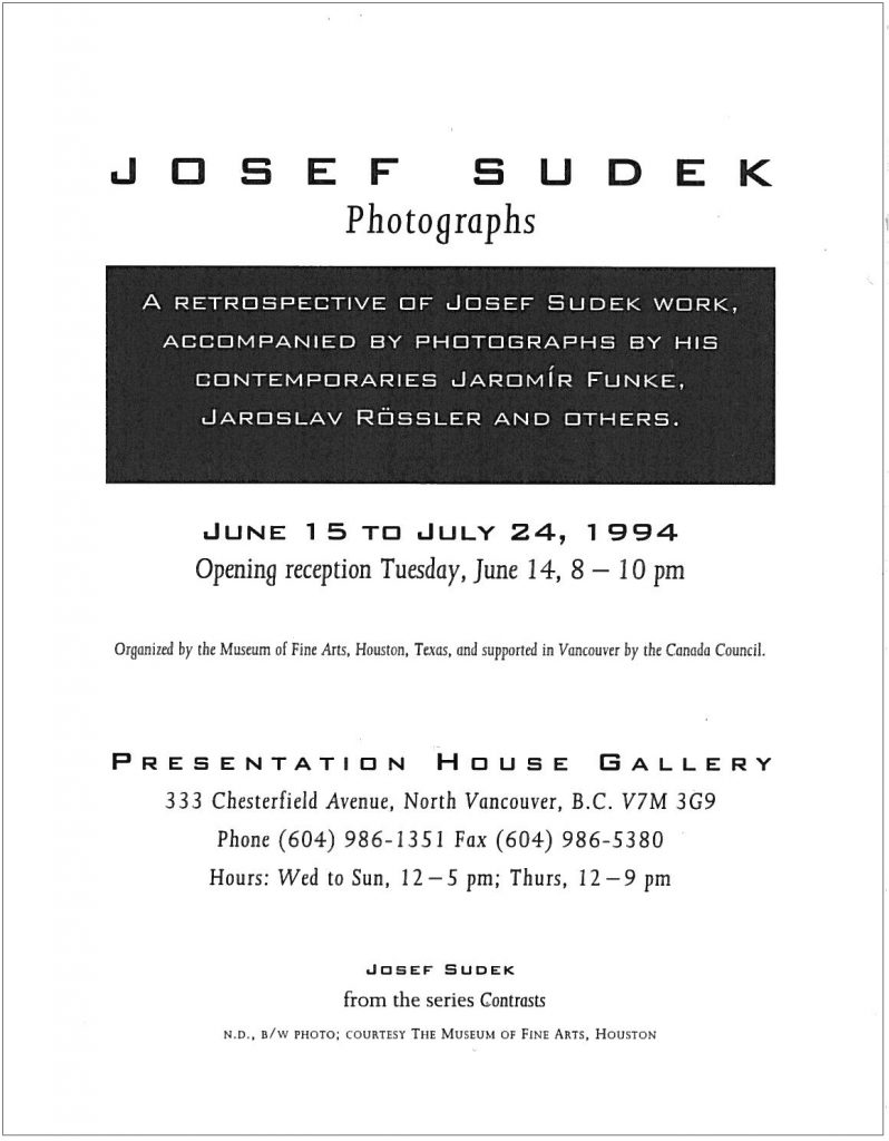 Sudek, Gallery Invitation - back